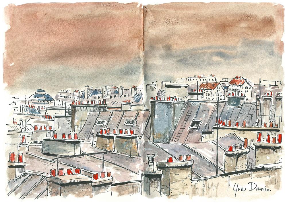f vrier 2014 les toits de paris aquarelles et dessins d 39 yves damin artiste illustrateur. Black Bedroom Furniture Sets. Home Design Ideas